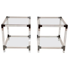 Pair of Lucite and Glass Hollywood Regency Side Tables