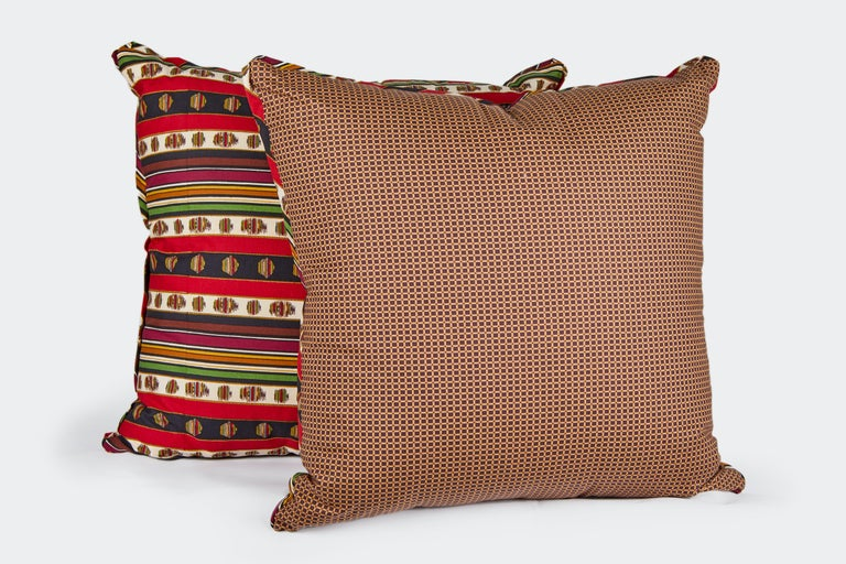 Contemporary Pair of Madeleine Castaing Fabric Cushions For Sale