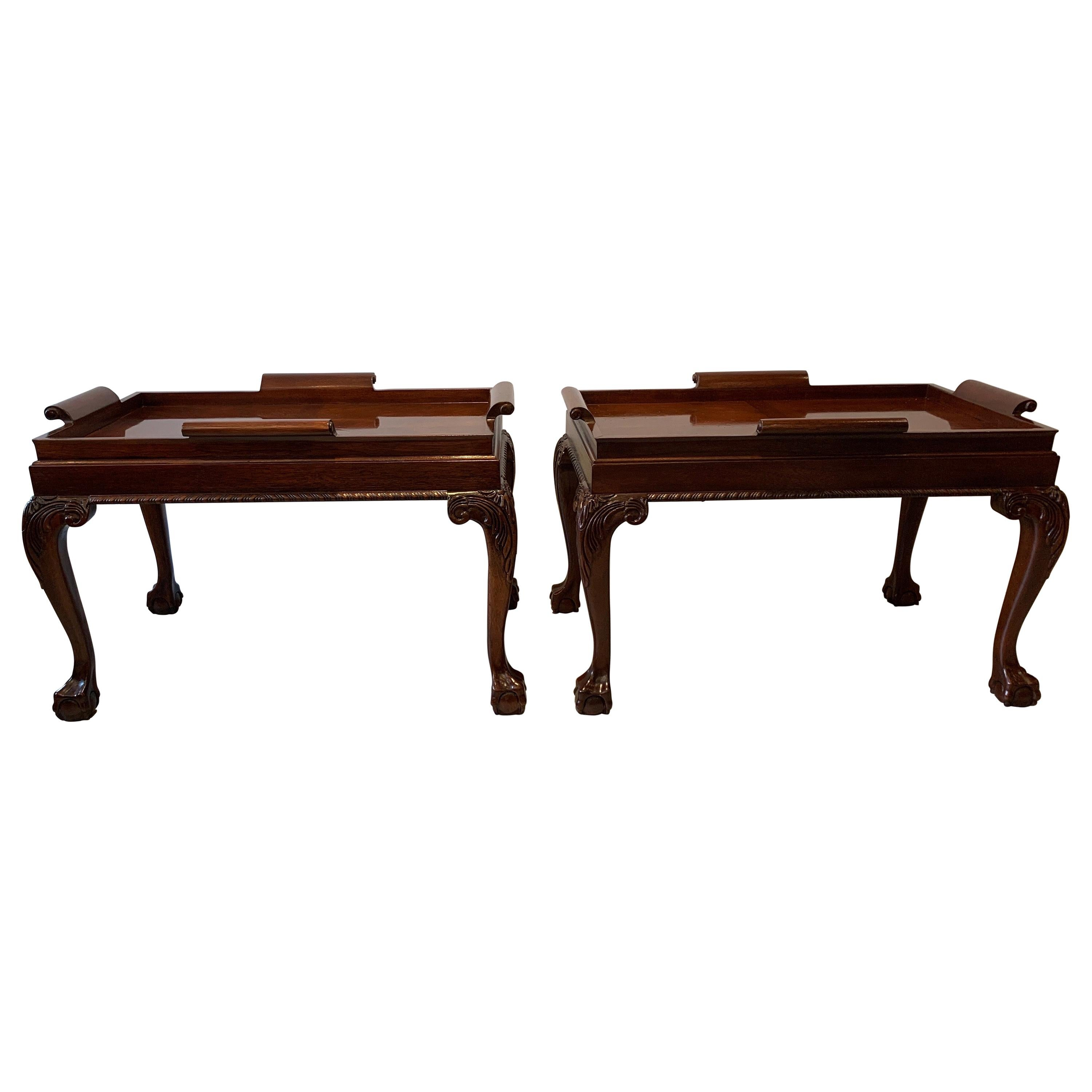 Pair of Mahogany Chippendale Style Diminutive Coffee Tables