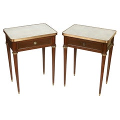Pair of Mahogany Marble Top Nightstands with Brass Fittings