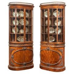 Pair of Mahogany Shaped Display Cabinets Attributed to Gillows