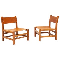 Pair of Maison Regain Fireside Lounge Chairs in Solid Elm, 1970s, France