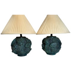 Pair of Maitland Smith Bronze Fish Motif Lamps