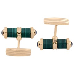 Pair of Malachite and Sapphire Cufflinks