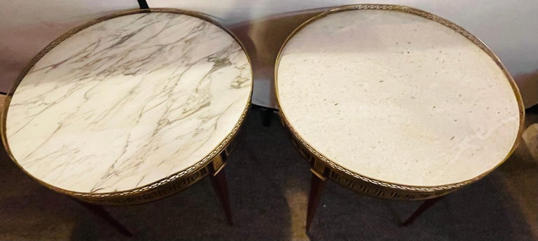 Pair of Marble Top Greek Key Bouillotte or End Tables, Manner of Jansen In Good Condition For Sale In Stamford, CT