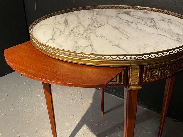 20th Century Pair of Marble Top Greek Key Bouillotte or End Tables, Manner of Jansen For Sale