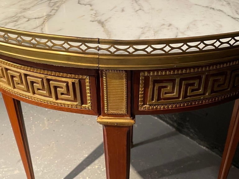 Carrara Marble Pair of Marble Top Greek Key Bouillotte or End Tables, Manner of Jansen For Sale