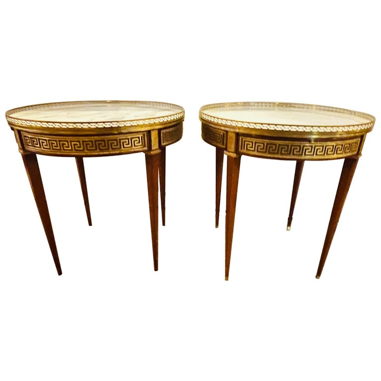 Pair of Marble Top Greek Key Bouillotte or End Tables, Manner of Jansen For Sale