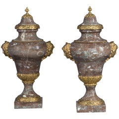 Pair of Marble Vases in the Manner of Pierre Gouthière, circa 1880