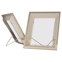 Pair of Mathieu Matégot White Perforated Metal Picture Frames/Mirrors