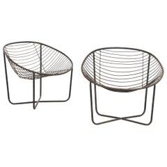 Pair of Metal Chairs by Jean-Louis Bonnant, circa 1956