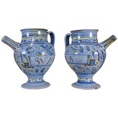 Pair of Mid-17th Century Italian Maiolica Berettino Wet Drug Jars