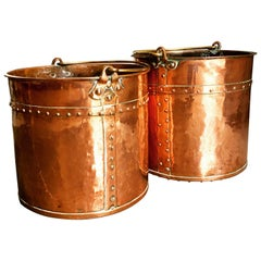 Pair of Mid-190th Century Copper Riveted Log Buckets