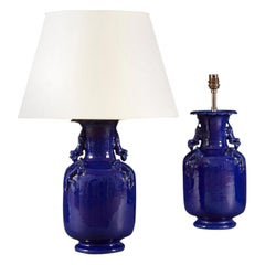 Pair of Mid 19th Century Blue French Dragon Vases as Table Lamps