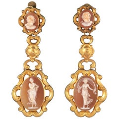 Pair of Mid-19th Century Cameo Earpendants French
