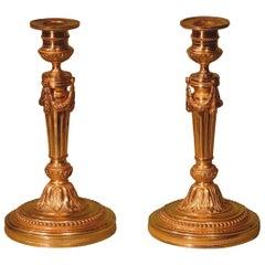 Pair of Mid-19th Century Louis XVI Ormolu Candlesticks