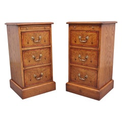 Pair of Mid 20th Century Burr Oak Bedside Chests
