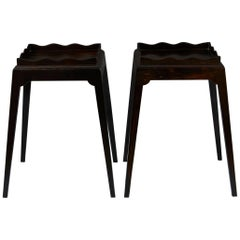 Pair of Mid-20th Century Ebony Tables with Undulating Galleries