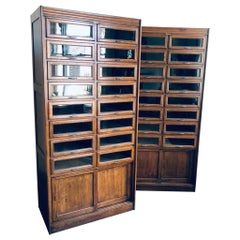 Pair of Mid-20th Century English Haberdashery Cabinets by Dudley & Co