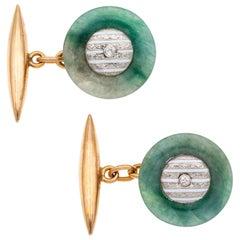 Pair of Mid-20th Century Jade and Enamel Cufflinks