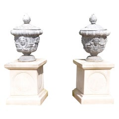 Pair of Mid-20th Century Lead Finial Urns