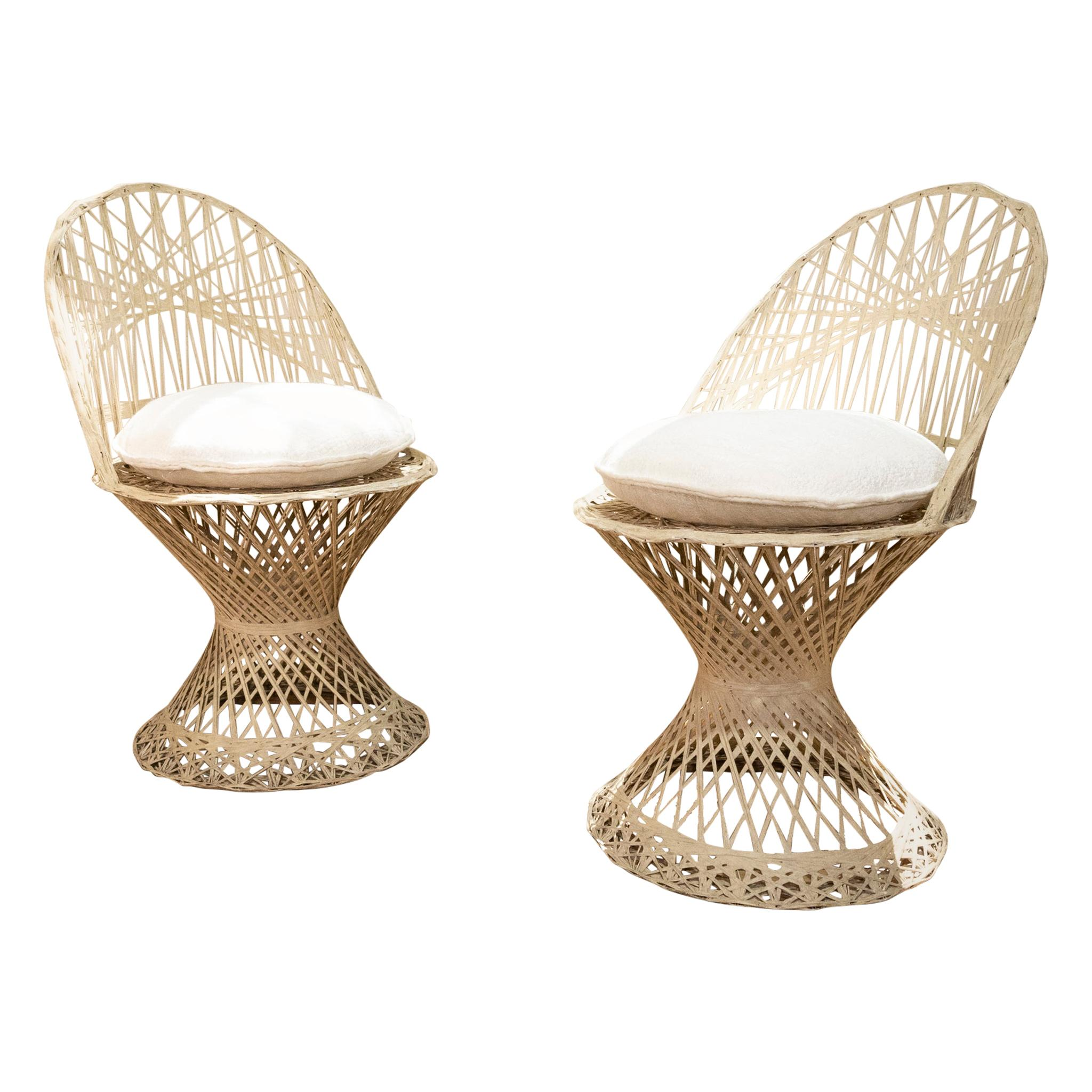 Pair of Mid-20th Century Russell Woodard Wicker Effect Side Chairs, Patio