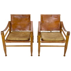 Pair of Midcentury Aage Bruun Safari Chairs, Denmark, 1960s