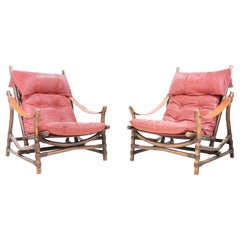 Pair of Mid Century Bamboo & Leather Lounge Chairs