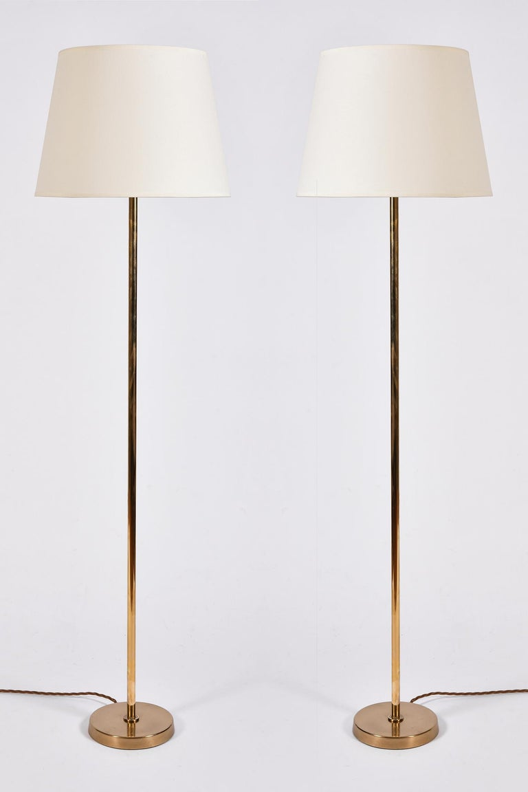Pair of Midcentury Brass Floor Lamps by Bergboms In Good Condition In London, GB