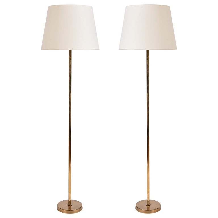 Pair of Midcentury Brass Floor Lamps by Bergboms