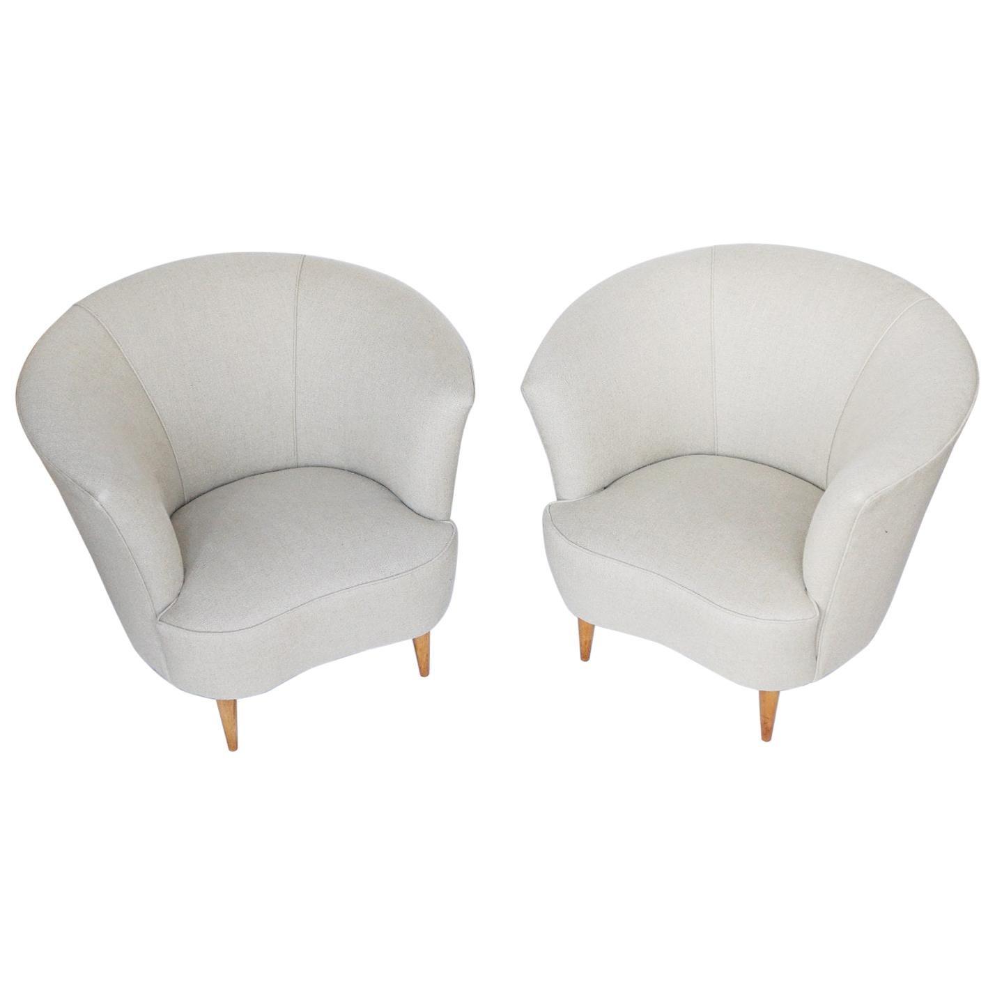 Pair of Midcentury Chairs Attributed to Gio Ponti Italian, circa 1950
