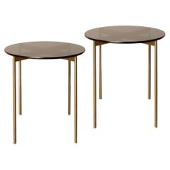 Pair of Mid Century Chrome and Glass Round Side Table, 1950s