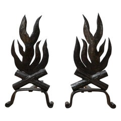 Pair of Mid-Century French Metal Firedogs