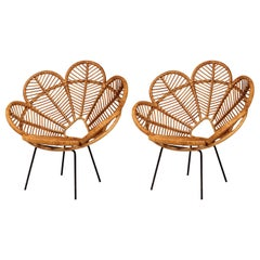 Pair of Mid Century French Outdoors Garden Chairs in Cane, Wicker and Raffia
