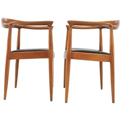 Pair of Midcentury Hans Wegner Style Armchairs Round Chair Vintage, 1960s
