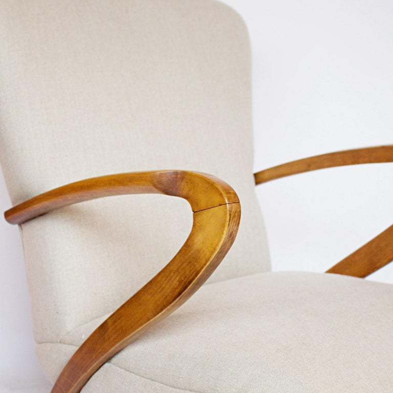 Pair of Midcentury Italian Armchairs, Solid Walnut, circa 1950 In Excellent Condition For Sale In Forest Row, East Sussex