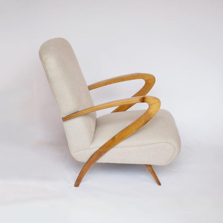 20th Century Pair of Midcentury Italian Armchairs, Solid Walnut, circa 1950 For Sale