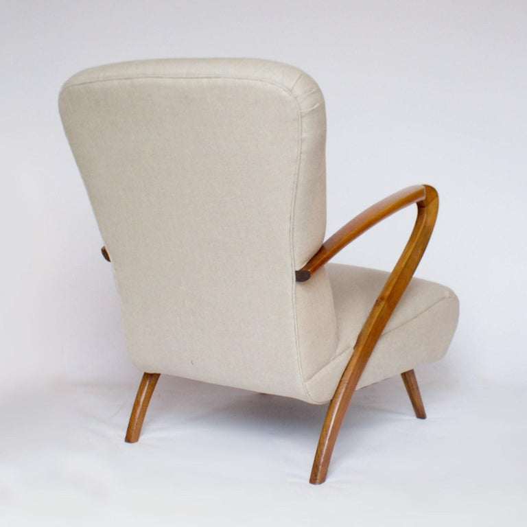 Linen Pair of Midcentury Italian Armchairs, Solid Walnut, circa 1950 For Sale