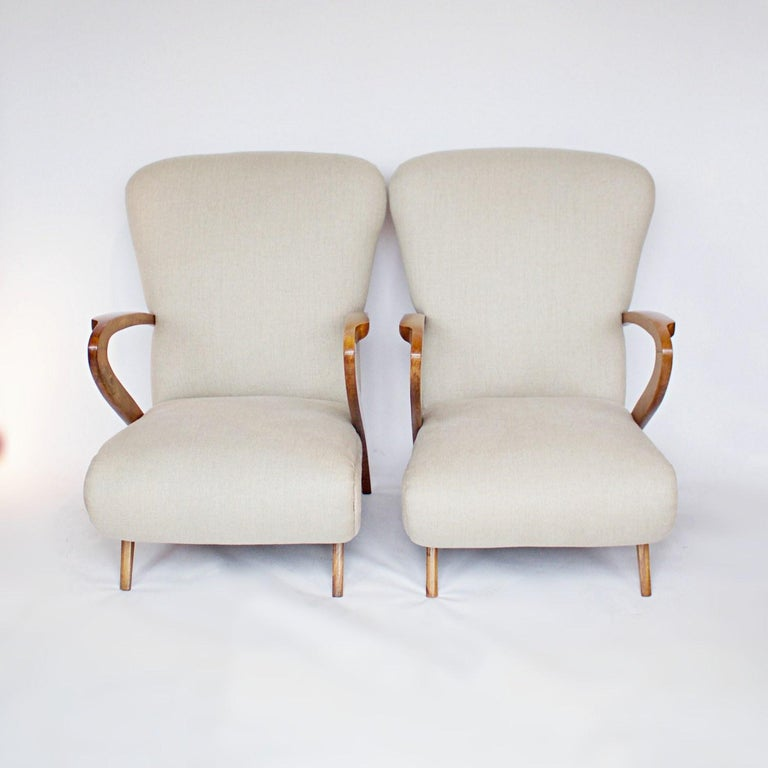 Pair of Midcentury Italian Armchairs, Solid Walnut, circa 1950 For Sale 1
