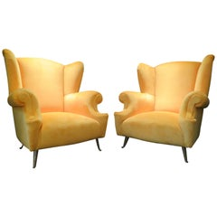 Pair of Mid Century Italian Winged Backed Armchairs