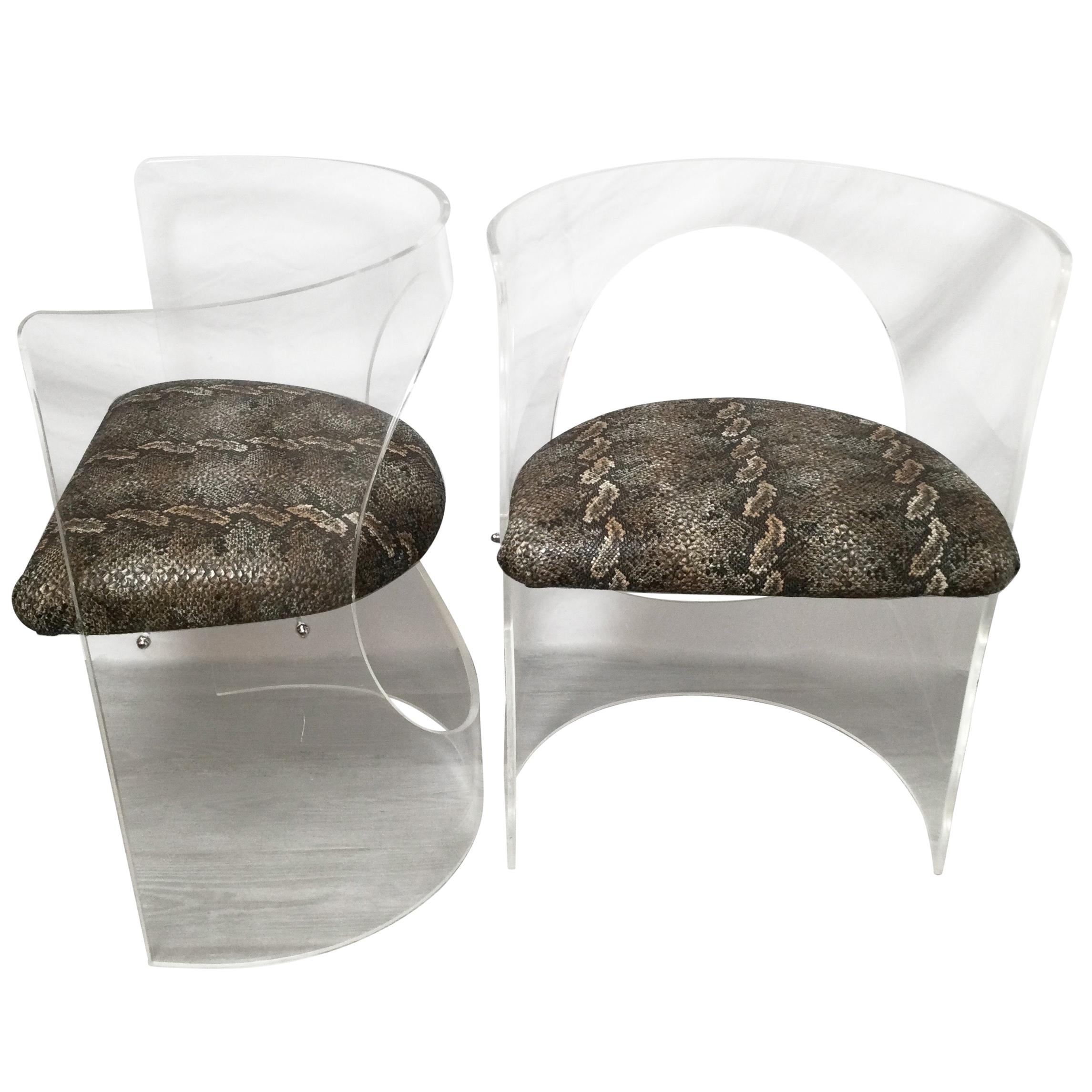 Pair of Midcentury Lucite Chairs
