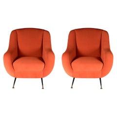 Pair of Mid-Century Modern 1950s Style Italian Lounge Chair Sophia in Orange