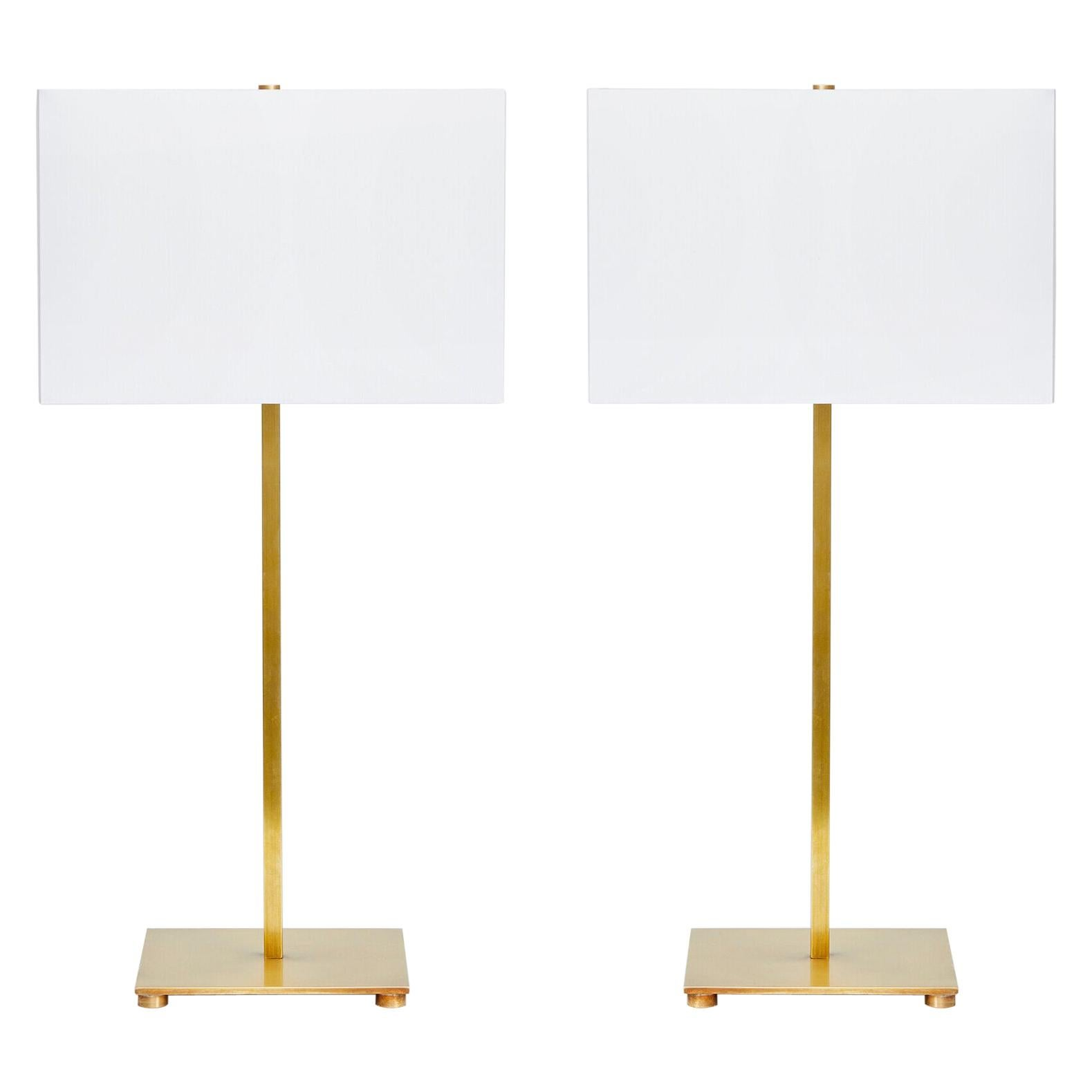Pair of Mid-Century Modern Brass Table Lamps
