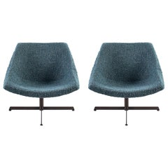 Pair of Mid-Century Modern Chairs Newly Upholstered in Italian Bouche