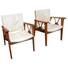 Pair of Mid-Century Modern Cowboy Motif Rustic Ranch Oak Armchairs