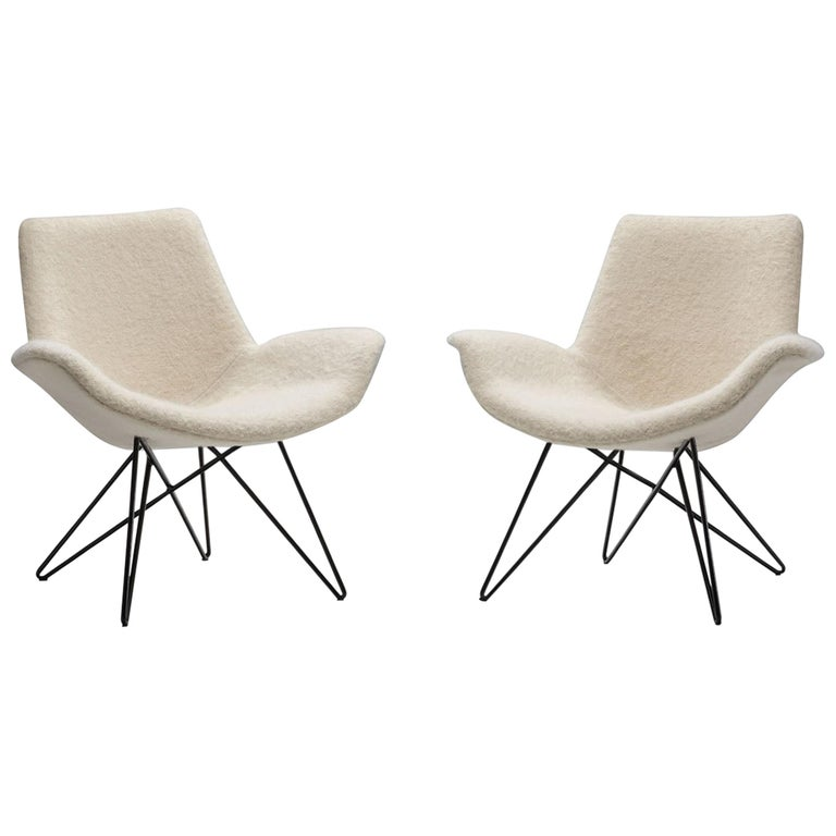 Pair of Mid-Century Modern Lounge Chairs, Europe, 1950s For Sale