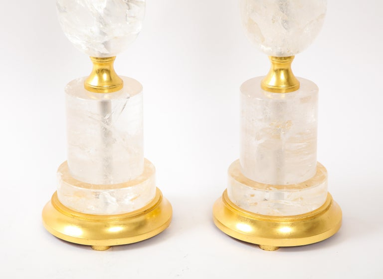 Pair of Mid-Century Modern Rock Crystal Quartz Mounted Lamps, Att. to