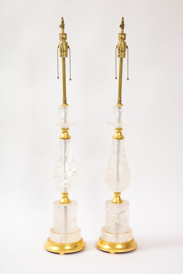 Louis XVI Pair of Mid-Century Modern Rock Crystal Quartz Mounted Lamps, Att. to