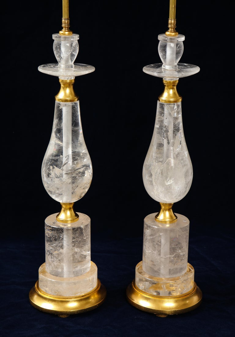 20th Century Pair of Mid-Century Modern Rock Crystal Quartz Mounted Lamps, Att. to