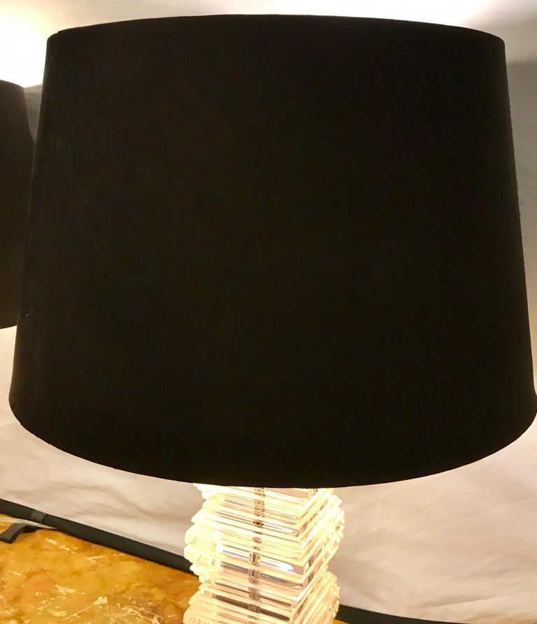 Pair of Mid-Century Modern Stacked Lucite Table Lamps 2